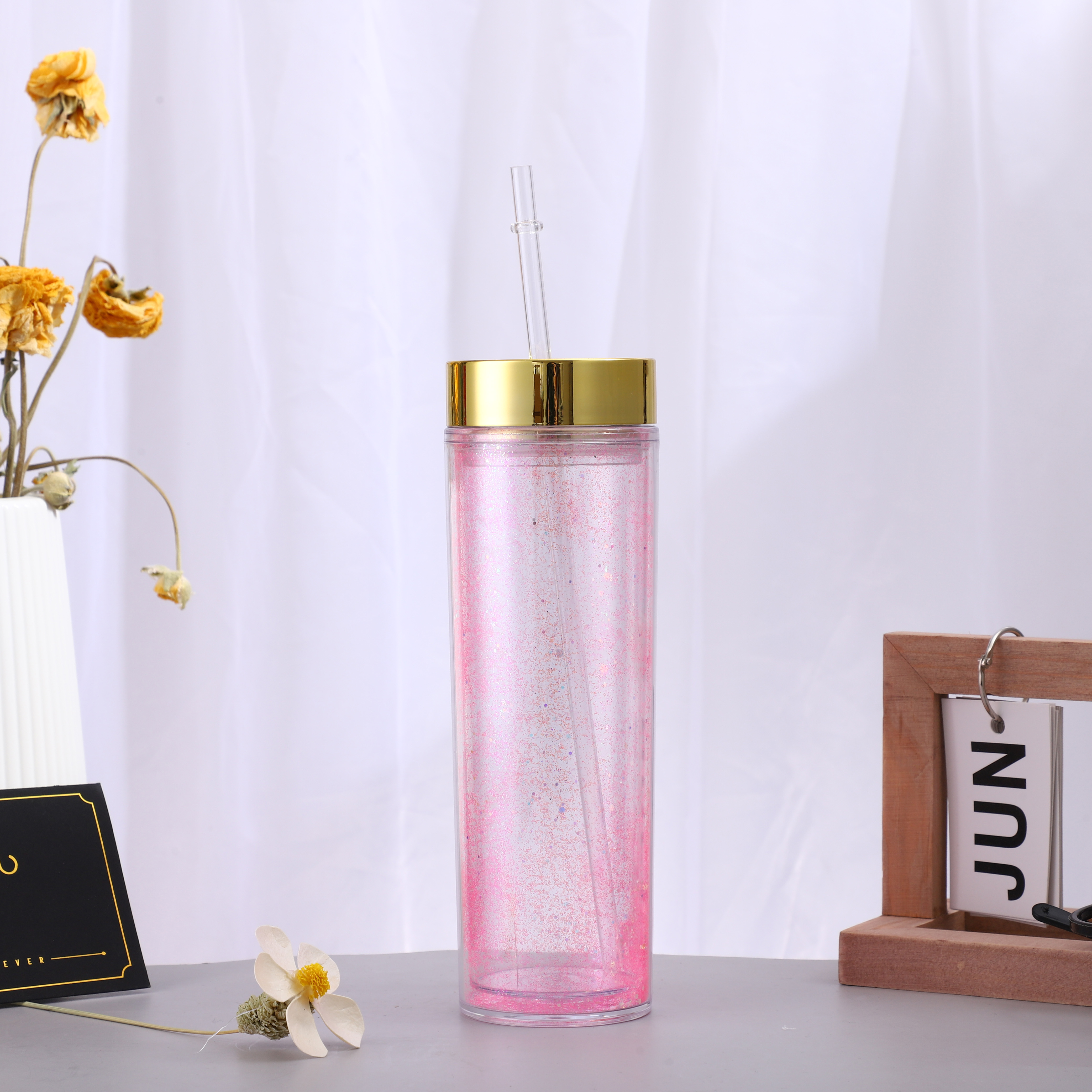 16oz In stock Double Wall Acrylic Skinny Tumbler with Colored Lid
