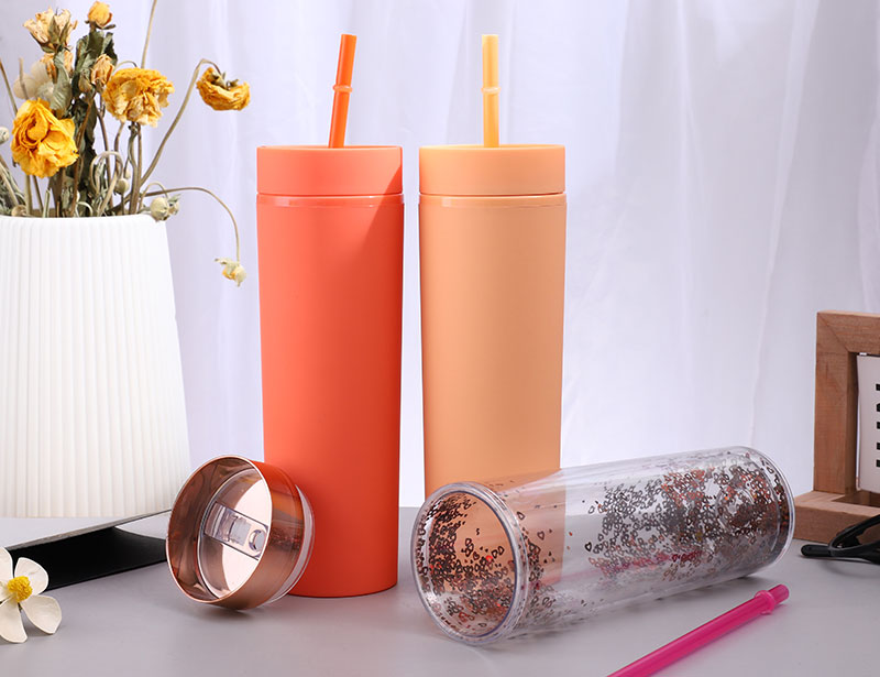 Acrylic Skinny Tumbler with Sequin