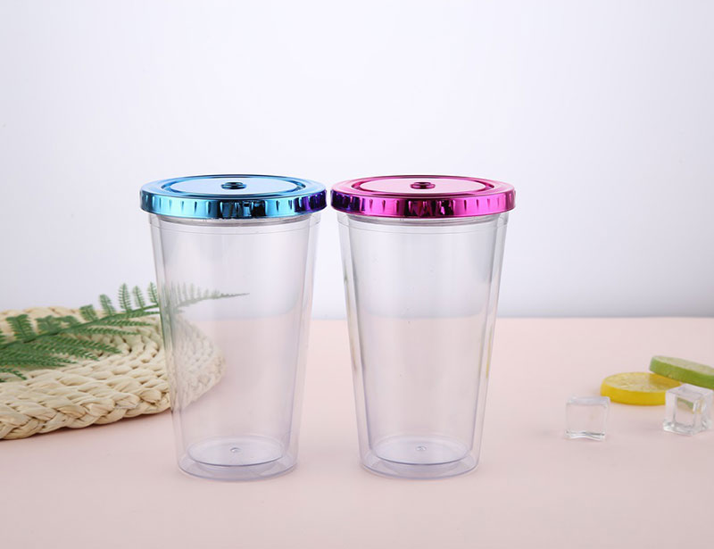 Plastic Straw Tumbler with Colorful Lid