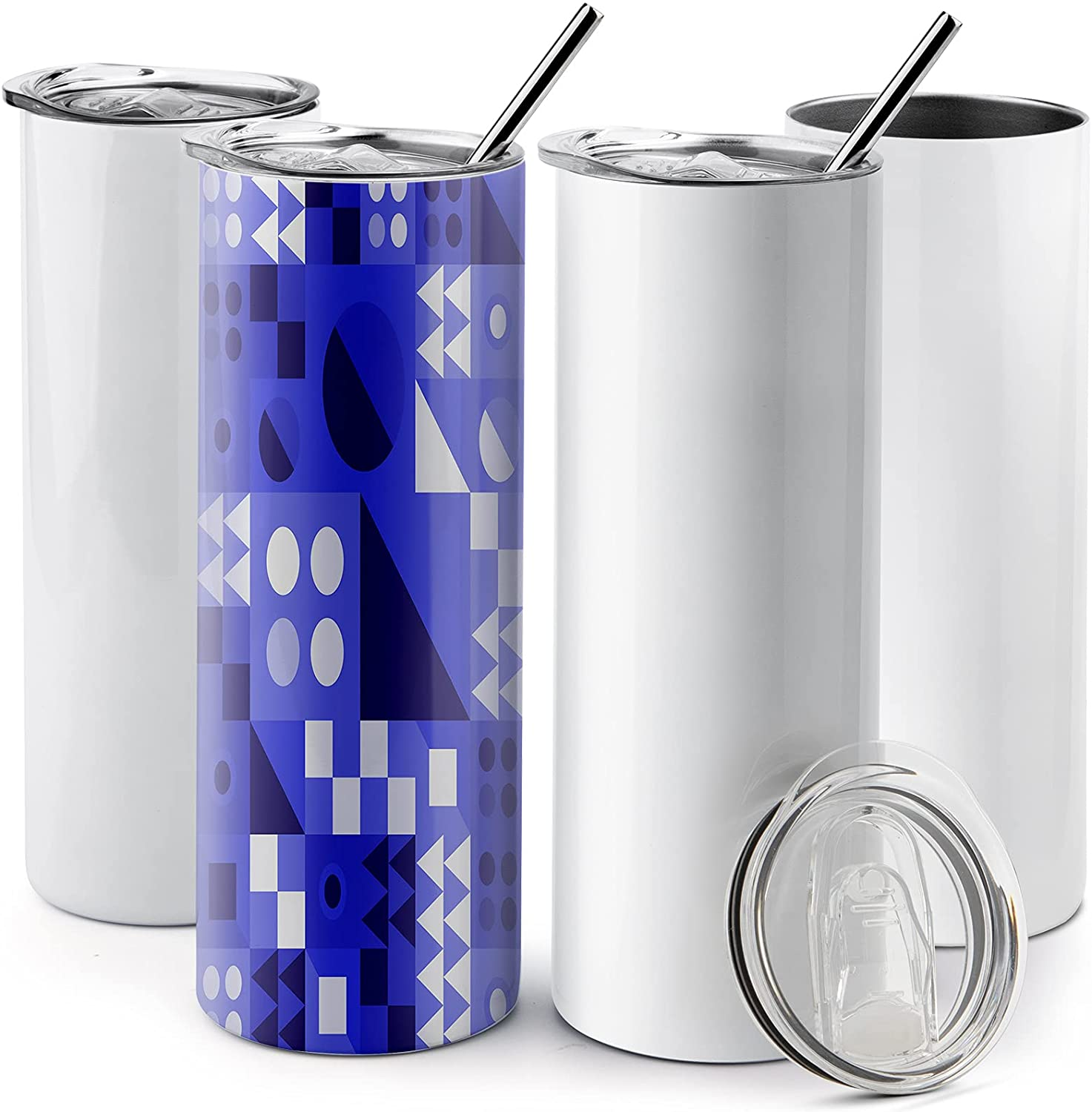 20 Oz Stainless Steel Skinny Tumbler, 4 Pack Double Wall Insulated Tumblers with Lids and Straws, Insulated Travel Water Tumbler Cup, Slim Vacuum Tumbler