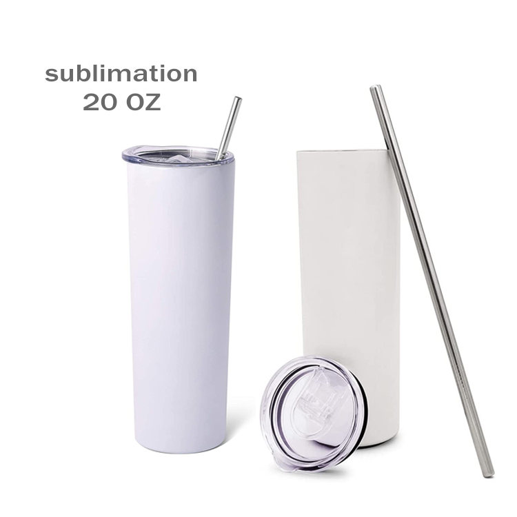 4 Pack Sublimation Tumblers 20 Oz Skinny for Cricut Mug Press, iSTOYO Blank Straight Skinny Sublimation Tumbler with Leak-Proof Lids Double-Walled Stainless Steel Insulated