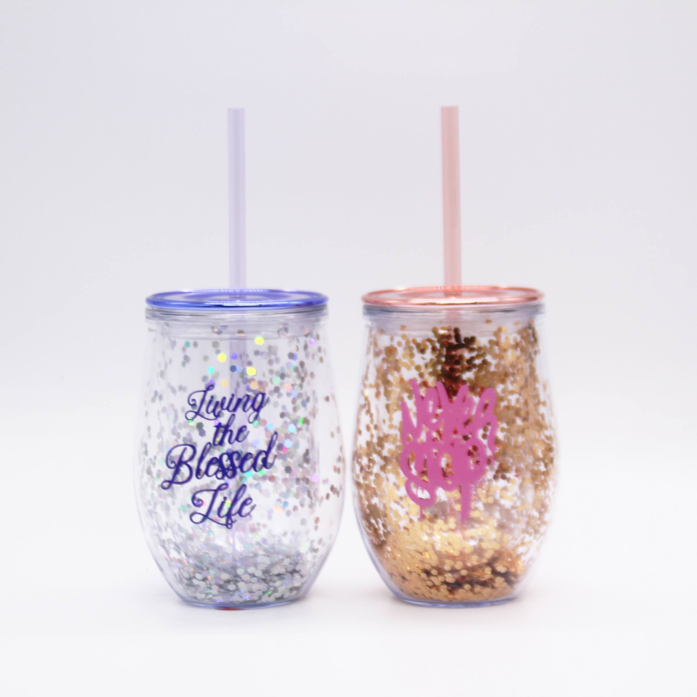 12oz Double Wall Acrylic Wine Tumbler with Colorful Sequins Straw and Lid