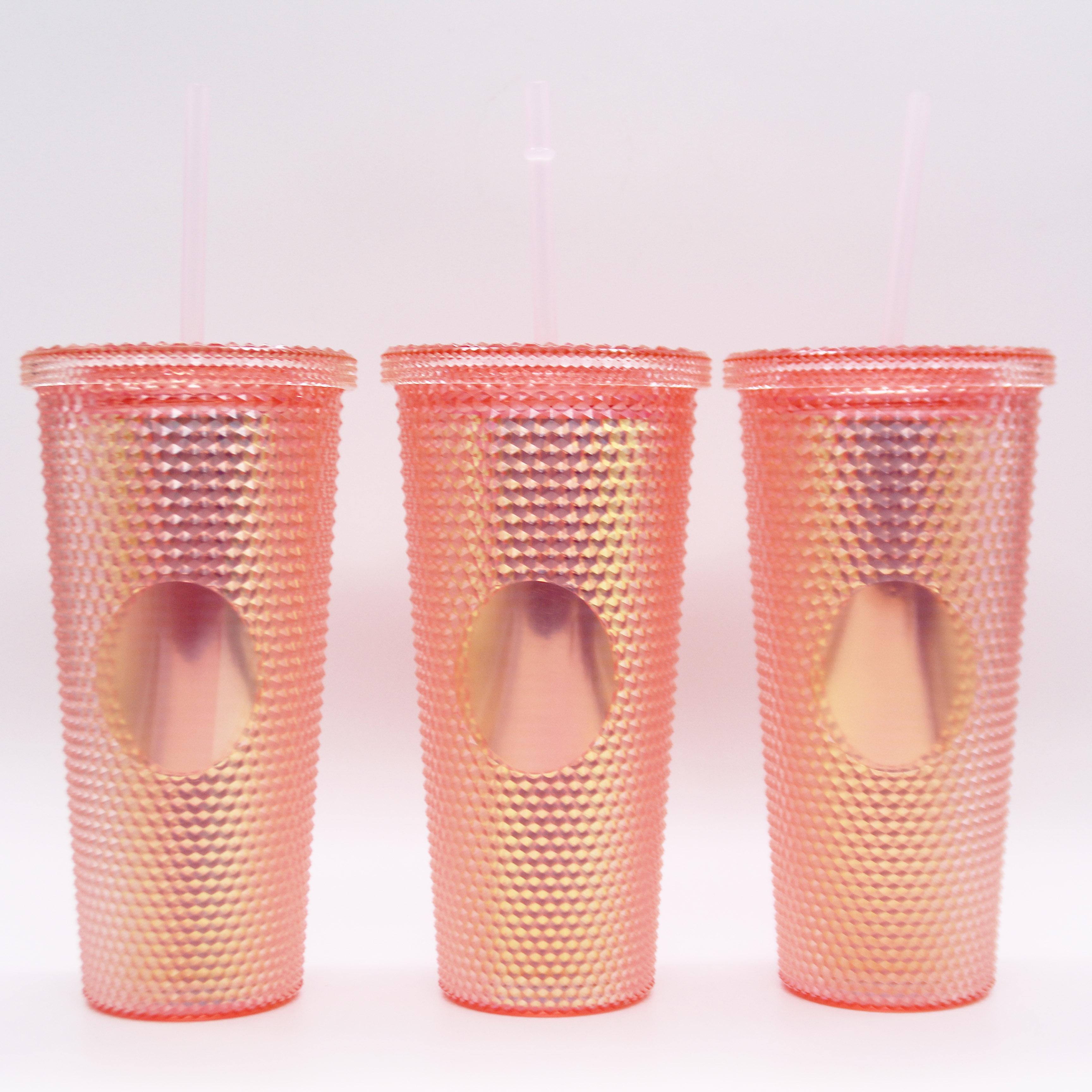 24oz New Design Double Wall Plastic Diamond Acrylic Straw Tumbler with lid