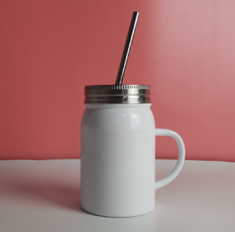 sublimation 17oz stainless steel mason jar with straw