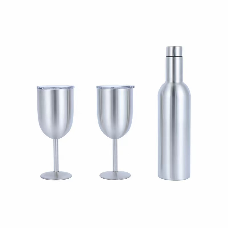 25oz red wine bottle tumbler sets insulated stemless tumbler bottle  double wall wine cup set