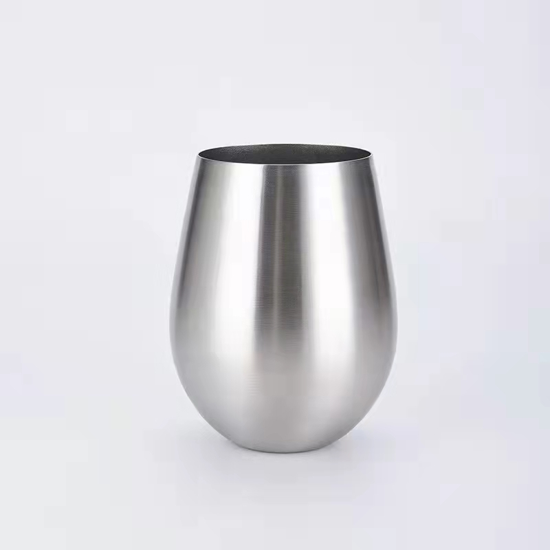 18oz stainless steel wine glass tumbler single wall stainless steel Stemless egg shaped beer cup