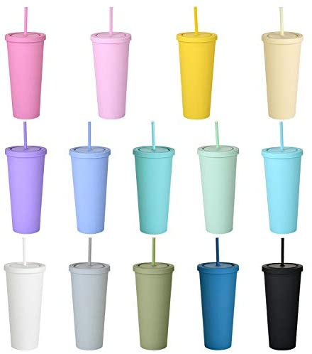 Skinny Tumbler with Lid and Straw 22OZ- Matte Pastel Colored Reusable Cups, Vacuum Double Wall Plastic Bulk Tumblers With Straw Iced Coffee Travel Mug Cold Water Bottle Gift for Adults