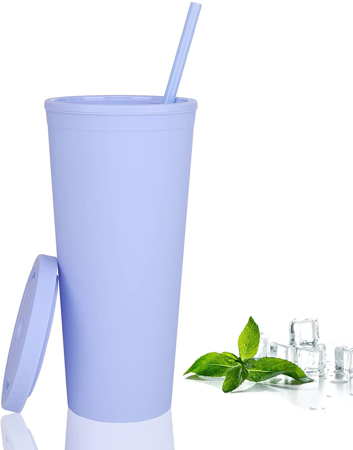 22oz Pastel Colored Acrylic Cups with Lids and Straws | Double Wall Matte Plastic Bulk Tumblers With FREE Straw Cleaner! Vinyl Customizable DIY Gifts