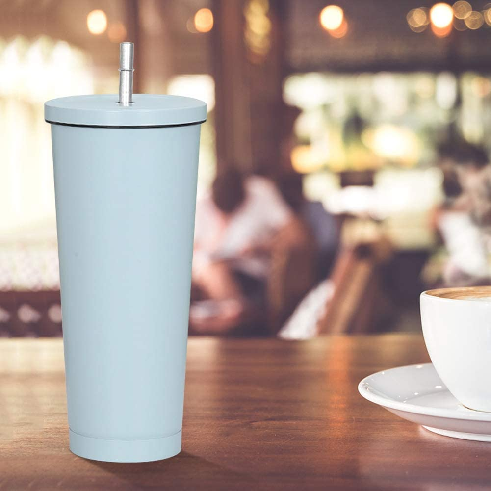 17 OZ Skinny Tumbler with Lid and Straw- Stainless Steel Pastel Colored Insulated Skinny Cups, Matte Vacuum Double Wall Water bottle With Straw Iced Coffee Travel Mug Cup