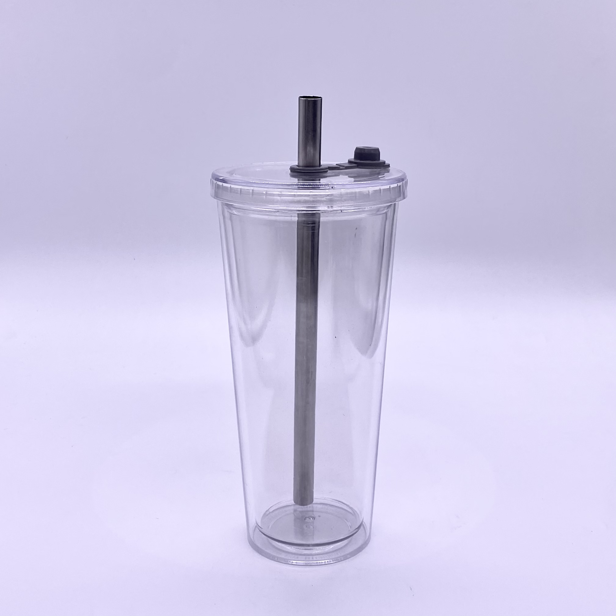 New Design 16oz Clear Acrylic Double Wall BPA Free Skinny Tumbler with Silicone Plug Plastic Tumbler with Straw and Lid