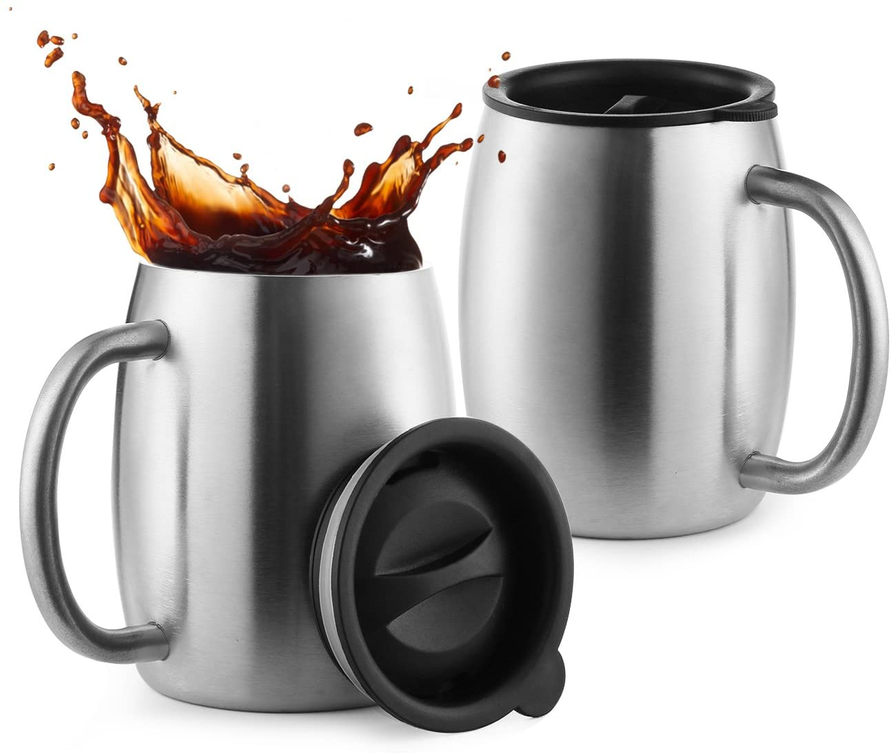 Stainless Steel Coffee Mugs with Lids 14 Oz Double Walled Insulated Coffee Beer Mugs