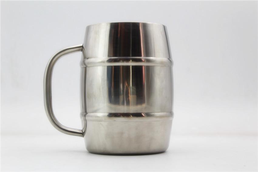 BARREL Double Wall Insulated Stainless Steel Beer mug,400ml Engravable coffee Mug