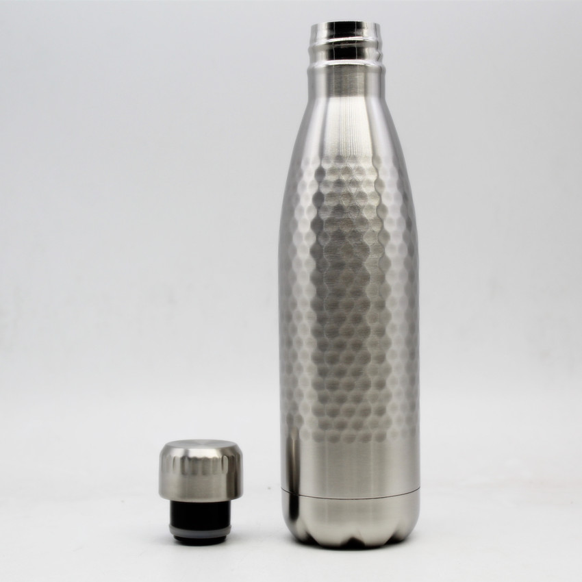SS304 Approved Hammered stainless steel Water Bottle Cola Shaped 500ML High Vacuum Insulated Water Bottle