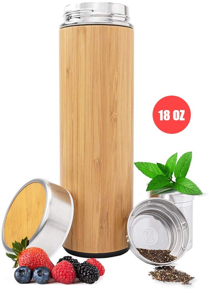 Bamboo Vacuum Insulated Bottle - Thermo with Tea Infuser & Strainer - Stainless Steel Tumbler, Fruit Infuser - Double Walled Tumbler Water Bottle - Travel Mug