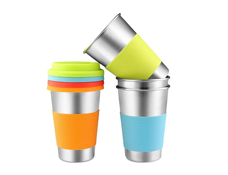 Stainless Steel Cups 16 oz 18/8 Stackable Durable Pint Cup Tumbler for Kids