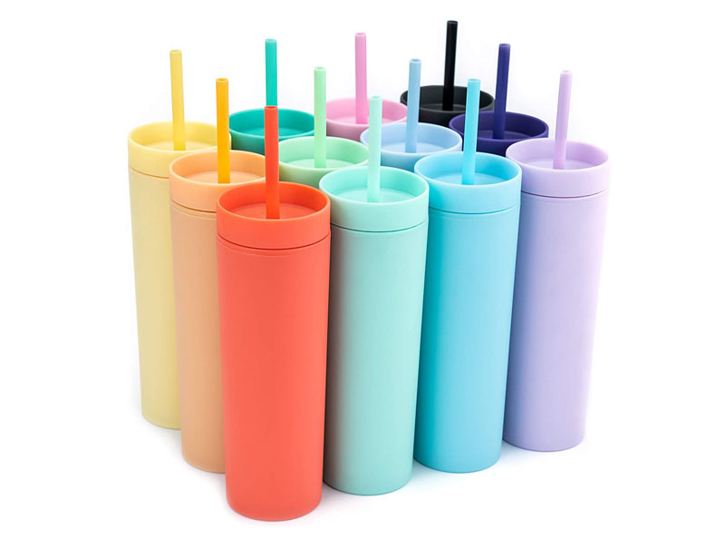 SKINNY TUMBLERS (12 pack) Matte Pastel Colored Acrylic Tumblers with Lids and Straws   Skinny, 16oz Double Wall Plastic Tumblers With FREE Straw Cleaner! Cup With Straw
