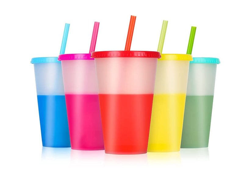 Reusable Tumblers with Lids and Straws - 5 Pack 16 oz Skinny Acrylic Cold Coffee Drinking Tumbler Cups BPA free | Matte Plastic Color Changing Cups for Kids & Adults