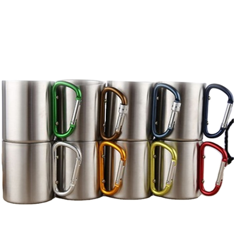 200ml 300ml outdoor camping travel portable stainless steel coffee cup double walled carabiner mug with handle