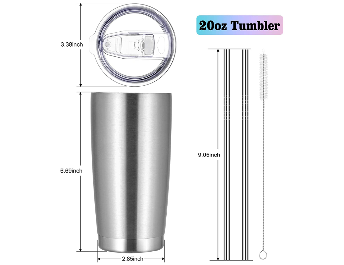 Wholesale Custom Logo 20oz Double Walled Vacuum Insulated Stainless Steel Tumbler with Lid and Straw