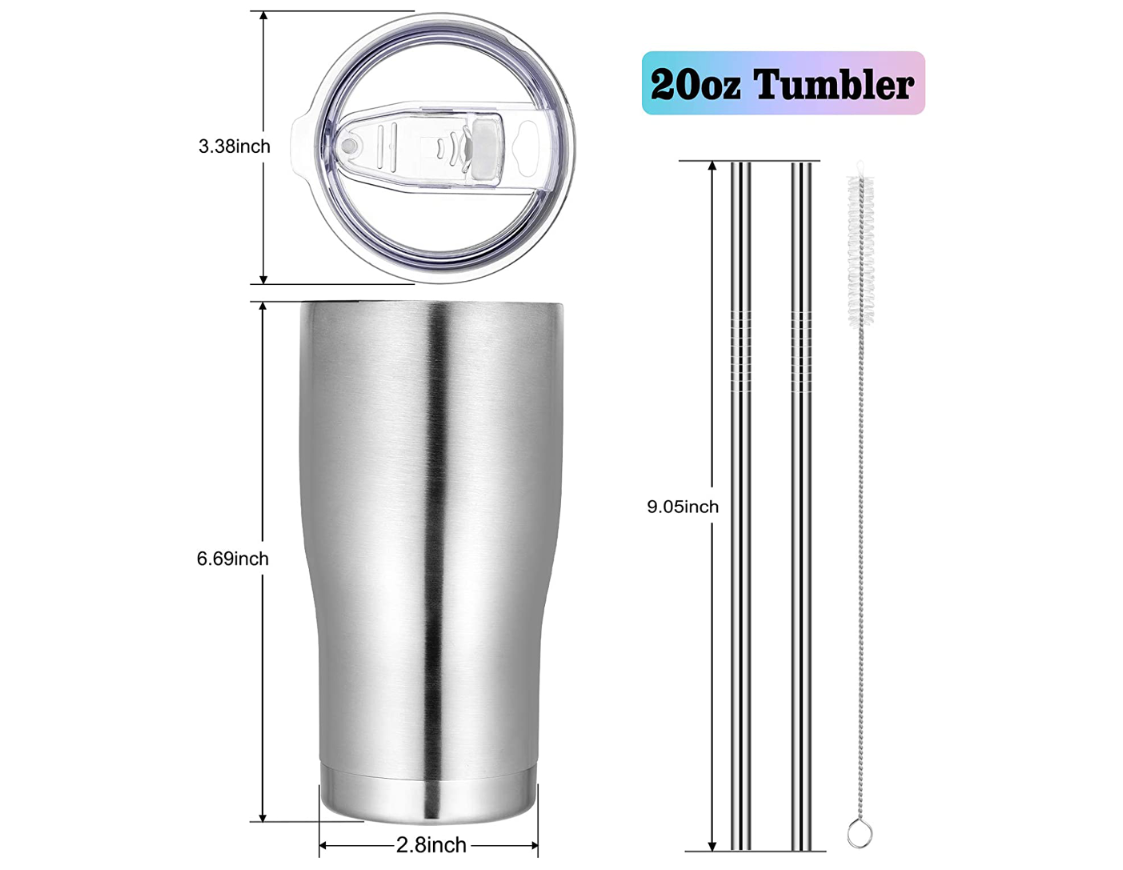 new style 20oz Double Walled Vacuum Insulated Stainless Steel Tumbler with Lid and Straw