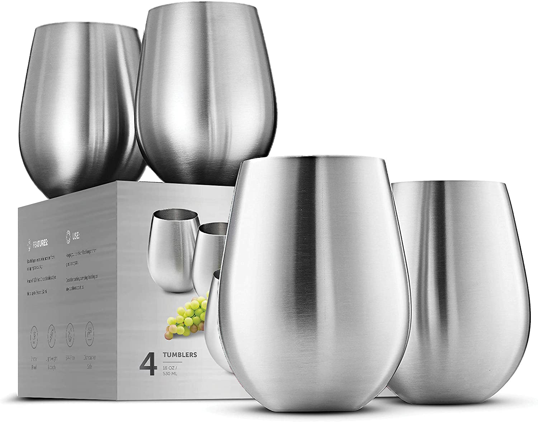 Stainless Steel Unbreakable Wine Glasses - 18 Ounce Set of 4 Wineglasses. Premium-Grade 18/8 Stainless Steel Red & White Stemless Wineglasses set, Portable Wine Tumbler
