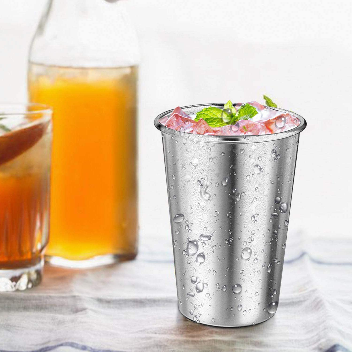 Steel Cups with Straws - ARKTEK Stainless Cups with Silicone Lid Stackable Metal Drinking Glasses, 16oz Drinking Tumblers with Straw Eco-Friendly for Party