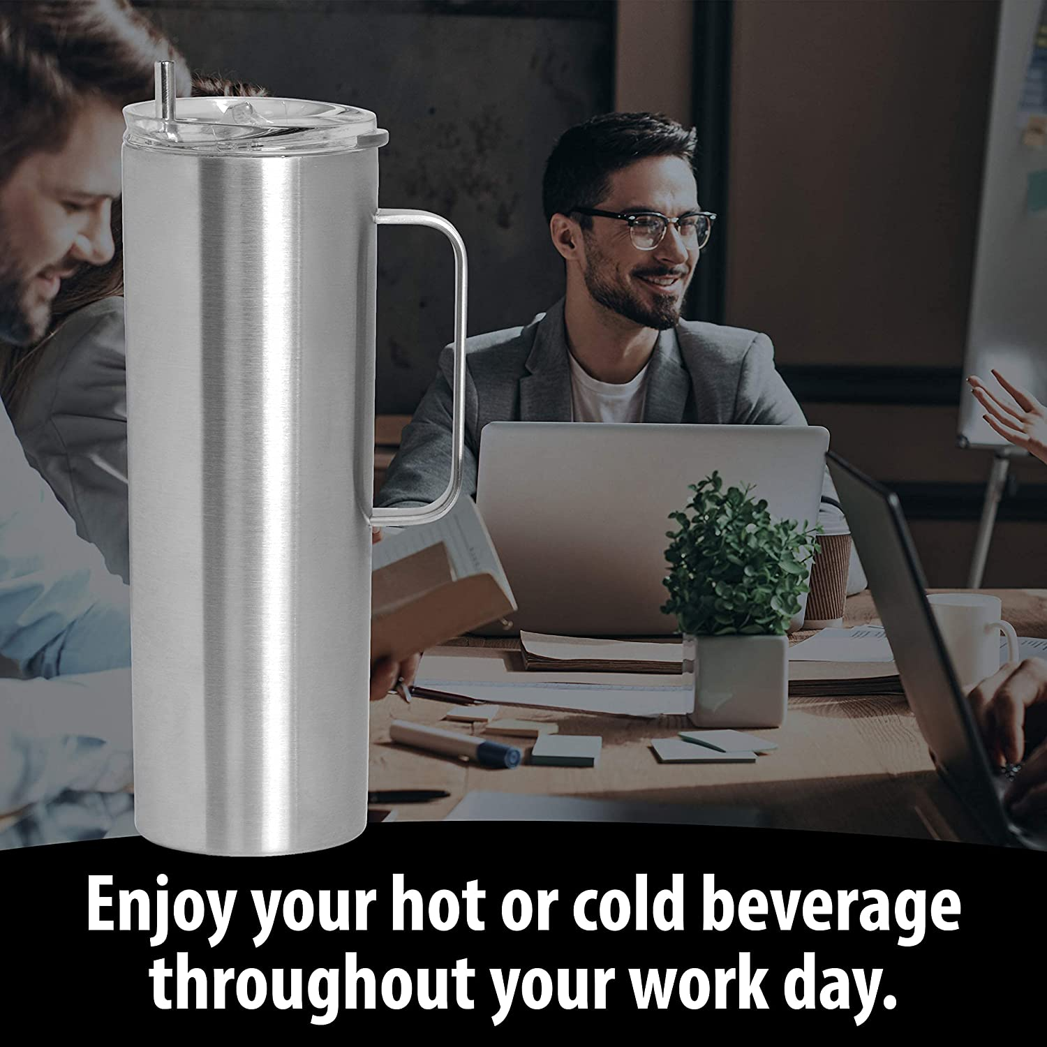 Double Wall Vacuum Insulated Skinny Tumbler with Handle - Tall & Slim Stainless Steel Drink Canister for Water, Coffee, Soda, Tea - Portable Hot & Cold Beverage Mug with Straw & Clear Lid - 20oz
