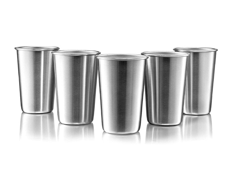 16 Ounce Stainless Steel Pint Cups - Stackable Pint Cup Tumblers For Travel – Metal Cups For Drinking Outdoors - 16 Oz Reusable Steel Cups