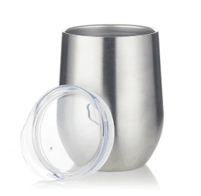 12oz Double wall stainless steel stemless wine tumbler with lid