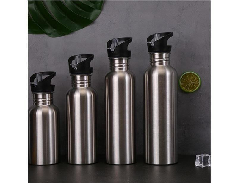 Leakage Proof Sports Water Bottle Drinking Water Flask Single Walled Stainless Steel Water Bottle