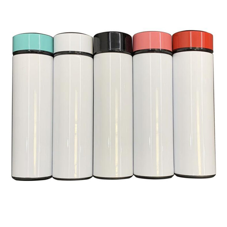 DIY white blank sublimation smart water bottle 17oz 500ml stainless steel temperature display bottle with LED touuch
