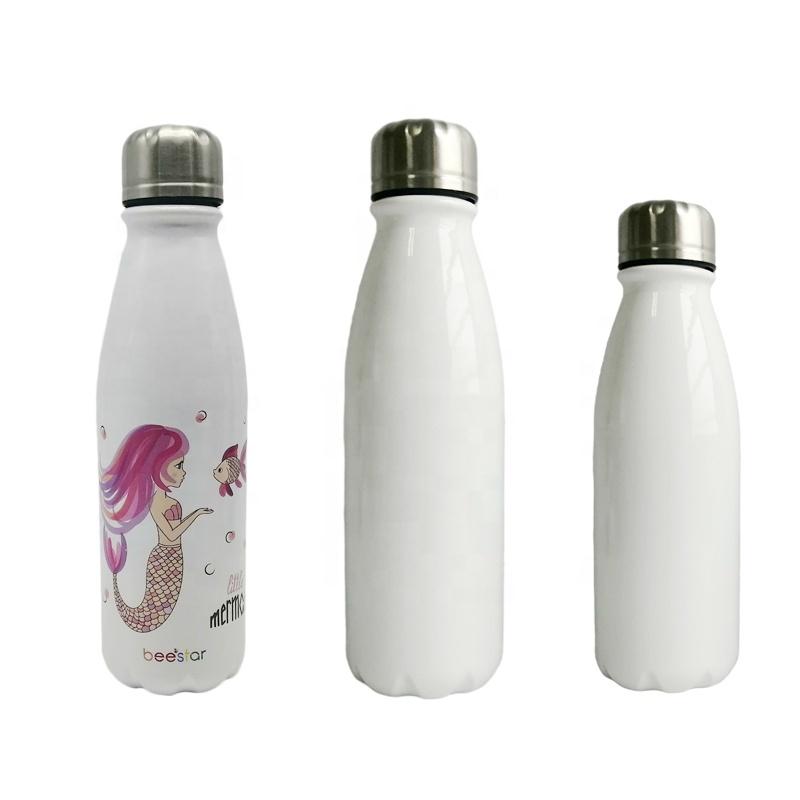 Sublimation Blanks Cola Shape Slim Aluminum Sport Water Bottle Custom Logo Sublimation 500ml Aluminum Water Bottle