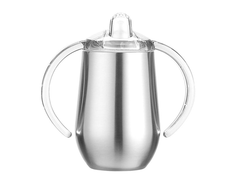 Stainless Steel Sippy Cup, Double Wall Vacuum Insulated Sippy Tumble with Handle, Children's Thermos Water Cup for Water and Milk