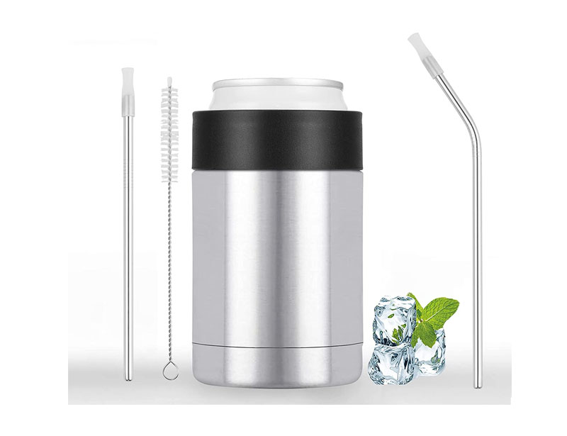 Insulated Can Cooler for 12 Oz Standard Cans, Double-wall Stainless Can Cooler with Straw, Stainless Steel Can Cooler for Sparkling Water, Soft Drinks, and Beer