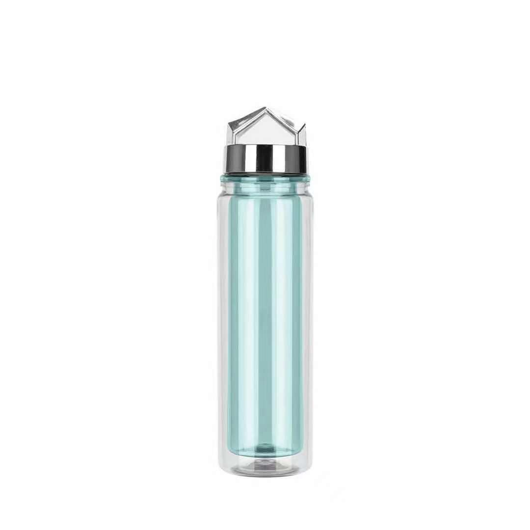 BPA-FREE 18oz double wall plastic water bottle with silver special lid