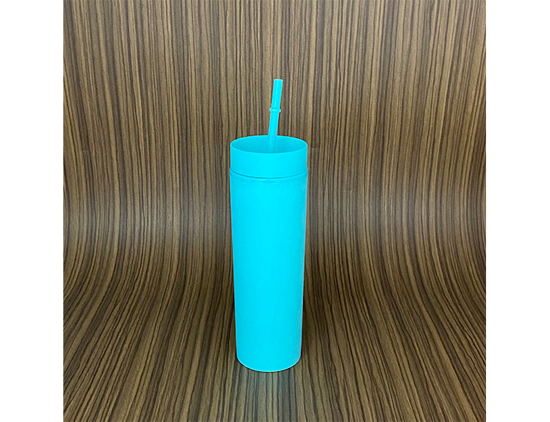 Light Blue SKINNY TUMBLERS Matte Pastel Colored Acrylic Tumblers 16oz Double Wall Plastic Tumblers With Straw travel mug
