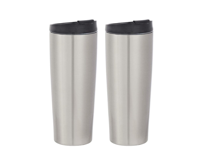 Stainless Steel Tumbler with Flip Lid, Vacuum Insulated – 30-Ounce, 2-Pack, Silver