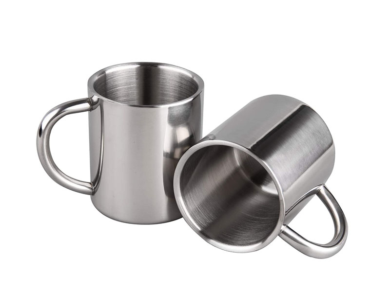 7.5oz/220ml Extra Small Camping Mugs Tea Cups Coffee Mugs Double Walled Stainless Steel Kids Size, Set of 2