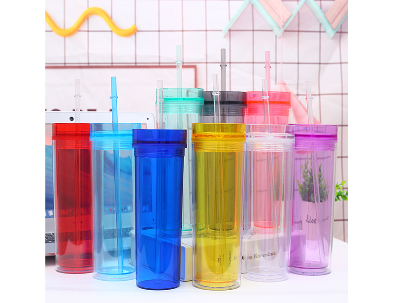 Double Wall BPA Free Plastic 16oz Half Clear Acrylic Skinny Tumbler with Straw and Colorful Body, Water Bottle