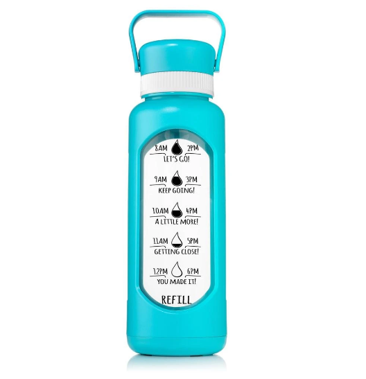 32 OZ GLASS WATER BOTTLE WITH STRAW TEAL