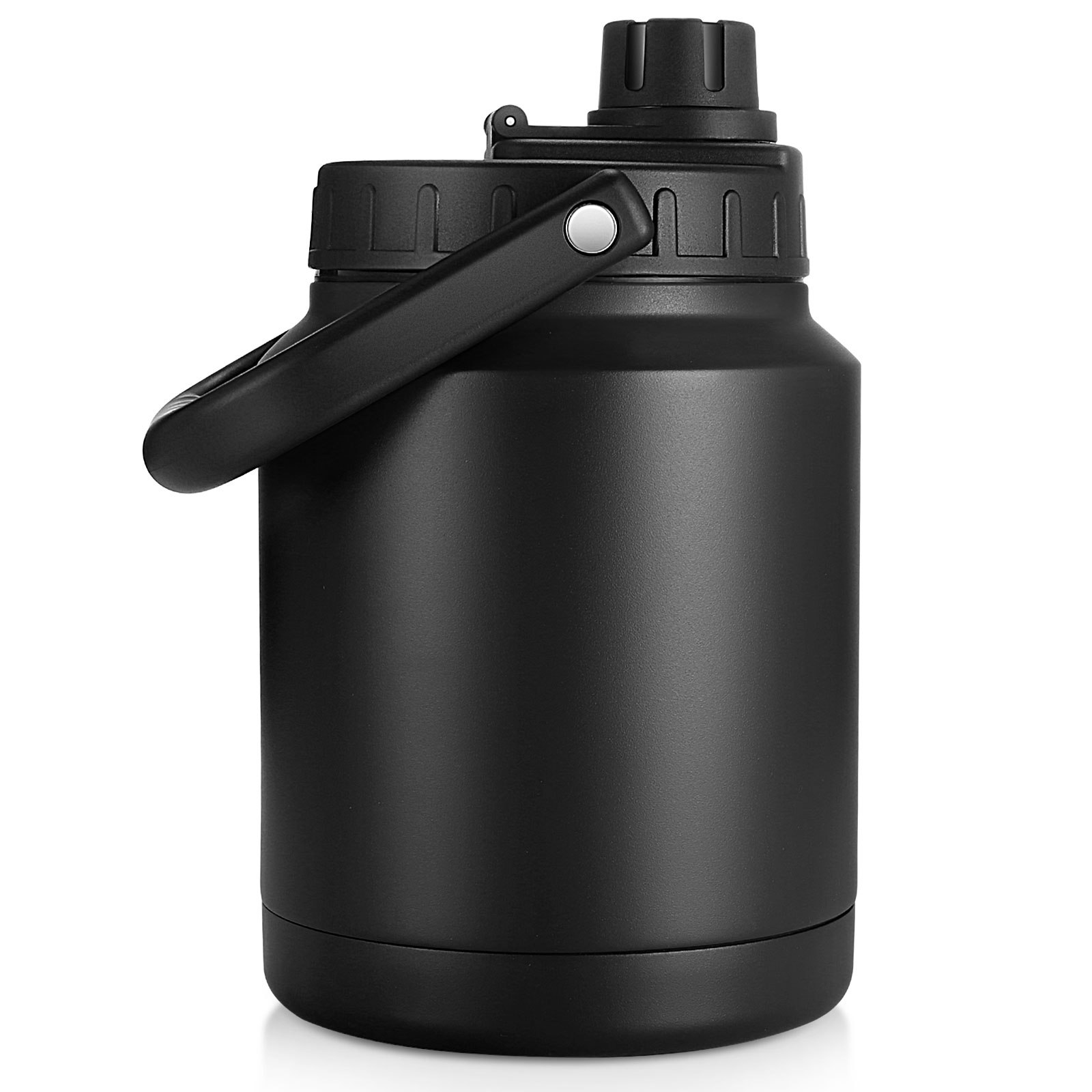 64 Oz Vacuum Insulated Water Bottle,Half Gallon Stainless Steel Double Walled Water Jug,18/8 Food-Grade Stainless Steel Insulated Water Bottle for Hot and Cold Drinks Water Flask,Black