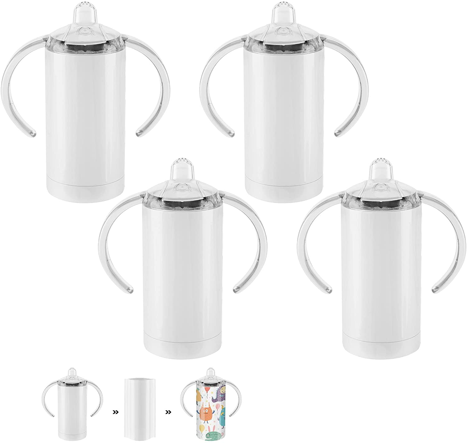 4 Pack 12 OZ Sublimation White Blank Straight Sippy Cup,Insulated Tumblers with Screw-ON LIDS