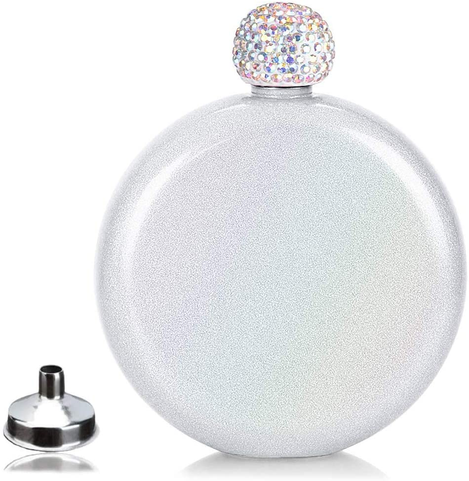 sublimation Cute Liquor Flask for Women,loncin Pretty Glitter Coating Whiskey Steel Flasks